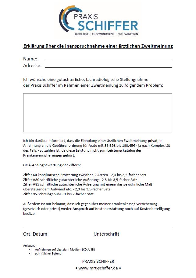 Formular für die Beantragung der radiologischen Zweitmeinung in der Praxis Schiffer